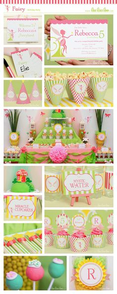 Decoración cumpleaños en rosa y verde / Birthday Party decoration. Pink and green -