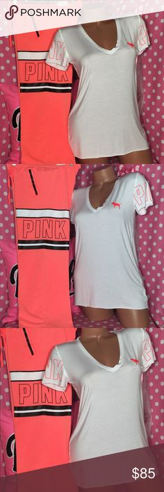 VS Pink sweatpants tshirt set Victoria's Secret pink boyfriend fit sweatpants bright coral orange color with black logo graphics matching white supersoft V-neck T-shirt is a small sweatpants are extra small but oversized would fit a small new with tags smoke-free pet free home PINK Victoria's Secret Pants Track Pants & Joggers