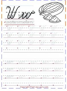 print out cursive handwriting tracing worksheets letter w for watermelon… Handwriting Practice Worksheets, Cursive Writing Worksheets, Improve Handwriting, Handwriting Analysis, Tracing Worksheets, Cursive Alphabet Printable, Cursive Letters, Alphabet Letters, Learning Cursive