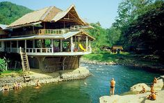 Indonesia Sumatra Bukit Lawang. this looks so kool your own treehouse that you can acctuslly live in and love the slide into water