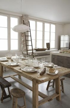 Wooden Dining Tables, Dinning Table, Sweet Home, French Home Decor, Minimalist Home Decor, Deco Table, Decoration Table, Apartment Interior, Cool Kitchens