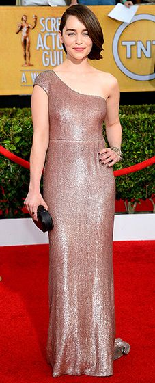 Game of Thrones star Emilia Clarke in a custom-designed, off-the-shoulder, blush gown by Calvin Klein Collection.