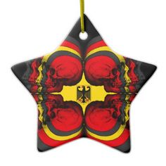 Skull World German Flag Ceramic Ornament - home gifts ideas decor special unique custom individual customized individualized