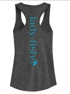NEW! Ladyfish Racerback Tank top - I can Bait my own Hook -Charcoal grey-Teal