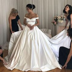 Simple satin wedding dresses long train with off-the-shoulder - # bridal dresses . - Simple satin wedding dresses long train with off-the-shoulder # Bridal dresses - Wedding Dresses Plus Size, Modest Wedding Dresses, Bridal Dresses, Bridesmaid Dresses, Asos Bridesmaid, Wedding Dress Long Train, Dresses Uk, Ball Gown Wedding Dresses, Simple Wedding Gowns