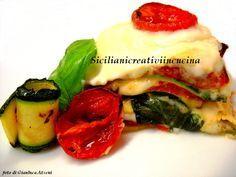 Lasagne estive con pomodorini confit e zucchine