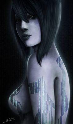 Cortana Portrait by ~Tr1gg3r117 on deviantART