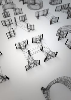 Dan Hoopert re-created the alphabet with virtual wire, showing an otherwise simple serif typeface in a complex and intricate way