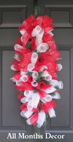 Red and White Deco Mesh Holiday Swag Wreath by AllMonthsDecor