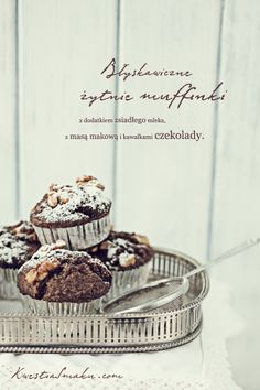 Poppy seed muffins with pieces of chocolate and nuts