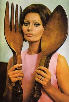 Italian actress Sophia Loren framed by giant wooden spoon and fork trademark souvenirs from the Philippines:) Sophia Loren, Wooden Fork, Wooden Spoons, Cookery Books, Forks And Spoons, Italian Actress, Domestic Goddess, Mae West, Dita Von Teese
