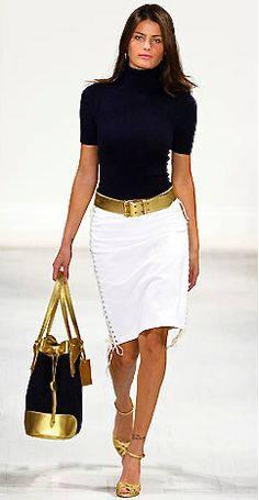 Ralph Lauren; if I were putting this outfit together, I would ditch the gold belt and the gold shoes... I want the stunning bag to stand out- above all! No belt - need a skirt with a perfect line up to the waist and black suede wingtips with a chunky hill! My style !!