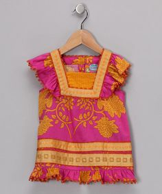 Just darling...    Take a look at this Pink & Yellow Angel-Sleeve Top by Rosalita Senoritas on #zulily today!