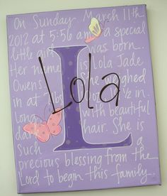 Got this 11x14 canvas personalized by staceyfoster as a baby gift for our new baby niece Lola, hope they like it cause I would love these for my kiddos!!