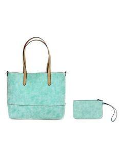 Joy Susan Brushed 2 In 1 Tote. Versatile handbag + coin purse in sky blue.    #EssentialApparel
