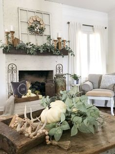Beautiful farmhouse mantel and fireplace fall decor for the Autumn season!Bless this nest fall mantel decor design. #fallmanteldecorbless