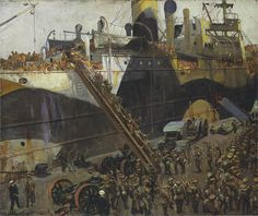 The Athenaeum - Embarking on the Western Front (Sir John Lavery, R. British Marine, Ww1 Art, Dazzle Camouflage, Flanders Field, Glasgow School, The Two Towers, Art Society, The English Patient, Military Art