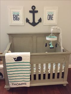 Pottery Barn Quilt - Hampton Nursery Collection  Crib - Dolce Babi Naples Collection in Satin Grey - Nautical Nursery