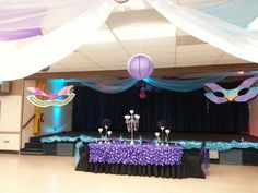 Masquerade,  peacock, sweet 16, purple and turquoise, headtable