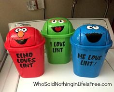 Sesame Street Lint Trash Cans made with a Silhouette machine (Elmo, Cookie Monster and Oscar the Grouch)