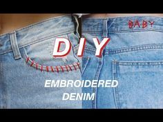 DIY Embroidered Jeans | Emily Elizabeth - YouTube