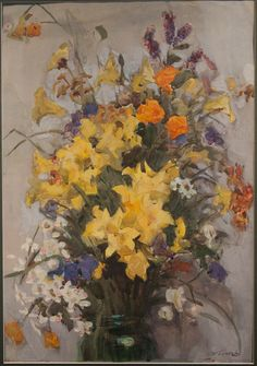 Viktor Popkov (1932 — 1974, Russia).  Bouquet- 1950