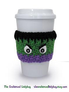 The Enchanted Ladybug: Incredible Hulk Inspired Crochet Coffee Cup Cozy