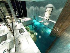 décoration d'intérieur revêtement de sol personnalisé paysage fond marin les poissons dans le rocher