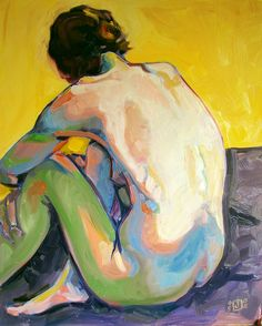 Artist Jen Joaquin - I love her use of bright vibrant colours as they make the picture captivating and the person's body have lots of interesting shapes and shadows.