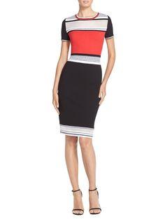Color Block Matte Crepe Knit  Dress   St. John Knits