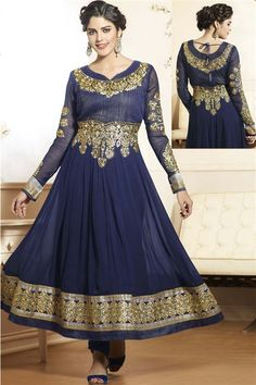 Navy Georgette Designer Long Anarkali Salwar Suit