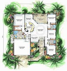Mediterranean Style House Plan - 4 Beds 3 Baths 2259 Sq/Ft Plan #27-281 Floor Plan - Main Floor Plan - Houseplans.com
