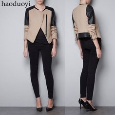 Aliexpress.com : Buy 2013 long sleeve shirt women Black PU patchwork nerong jacket slim oblique zipper beige woolen outerwear 6 jackets FREE SHIPPING from Reliable plus size coats for women suppliers on T-ya Fashion Whole-sale (Mini order:US$15).