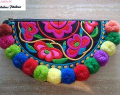 Único tela bordada collar boho bohemio por moderncameoboutique