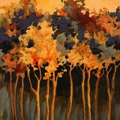 Abstract Landscape Tree Art Painting Twilight Poem by Colorado Mixed Media Abstract Artist Carol Nelson, painting by artist Carol Nelson