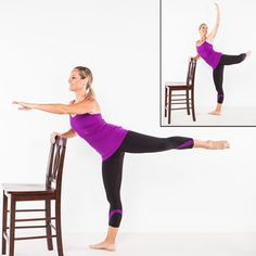 Barre Workout: Arabesque Attitude Abs - Home Workout Plan: 7 Ballet-Inspired Moves for Long, Lean Muscles - Shape Magazine Lampert Lampert Roberts Barre Moves, Barre Exercises At Home, Chair Exercises, At Home Workouts, Barre Workouts, Cardio, Workout Routines, Body Exercises, Fitness Routines