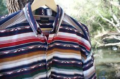 Vintage Boho Structure Shirt  Size Medium  Mens by TheWoodenEarth