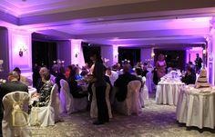 Purple wedding uplighting at Stamford Plaza | G&M DJs | Magnifique Weddings #gmdjs #magnifiqueweddings #weddinglighting #brisbanewedding #stamfordplaza @gmdjs