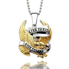 Live to Ride Eagle Motorcycle Lovers Pendant Necklace