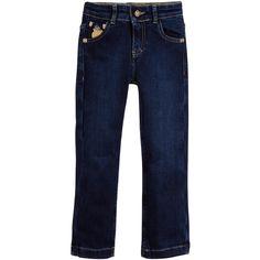 BILLIONAIRE Boys Blue Denim Jeans with Gold Wolf Crest
