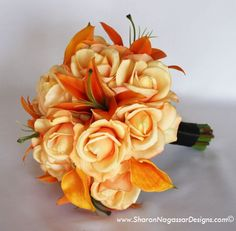 Tiger Lilies, roses and calla lilies. @Kaeleigh Melton Schroeder this page has some nice boutonniere ideas too.