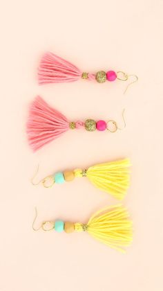 Spring Jewelry Trends, Lemon Yellow Crystal Jewelry for Her, Raw Rough Geode Crystal Stud Earrings, Anniversary Girlfriend Wife, Pastel Gift - Fine Jewelry Ideas - A Kailo Chic Life: DIY It – Super Simple Tassel Earrings - Gold Bar Earrings, Beaded Earrings, Diy Earrings Easy, Hoop Earrings, Diy Tassel Earrings, Diy Statement Earrings, Tassel Earing, Fabric Earrings, Diamond Necklaces