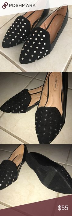 Black studded loafers New never worn. Black Lane Bryant loafers with silver studs and slight pointed toe. Size 9 Wide. Lovely shoes just too small for me. Lane Bryant Shoes Flats & Loafers