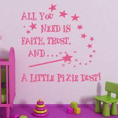 A Little Pixie Bust And Star Wall Sticker Princess Bedroom Wall Decor Vinyl DIY Art Wall Decal Nursery