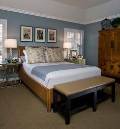 Houston interior designer, Linda Eyles -- 1950's ranch remodel Master Bedroom, so beautiful and quiet-love the McGuire bed!