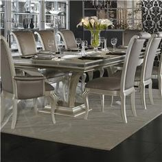 Michael Amini Hollywood Swank Large Rectangular Dining Table - Item Number: N03002B-08+03002T-11. MARLOFURNITURE.COM