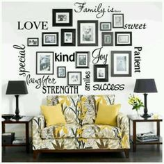 Frame wall- inspiration for words and frames combinations