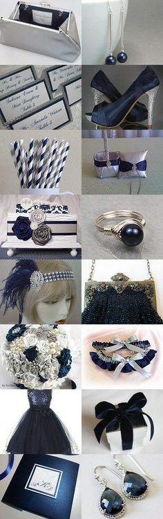 Navy Blue and Silver Wedding Bells by Kelly on Etsy--Pinned with TreasuryPin.com