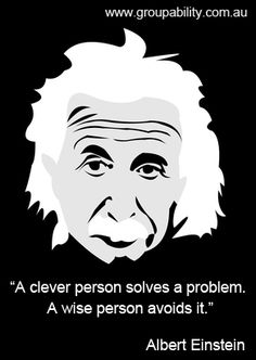 """""""A clever person solves a problem. A wise person avoids it."""" ― Albert Einstein"""