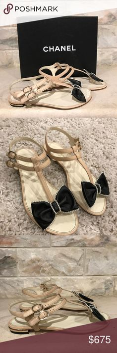 Chanel 16P Beige Black Pearl Bow Leather Strap Chanel 16P Beige Black Pearl Bow Leather Strap Thong Sandal Flats 36 $875  ********** Chanel **********  Brand: Chanel Size: 36 (know your Chanel size)  Name: Thongs Color: Beige Style: Thong Flats Style#: G31359X01000 Material: Lambskin Leather Beige lambskin leather Open sandal Black leather 3D bow with mini pearl trim Thong front bow Double djustable ankle strap Brand new in box, comes with original box and dustbag CHANEL Shoes Sandals